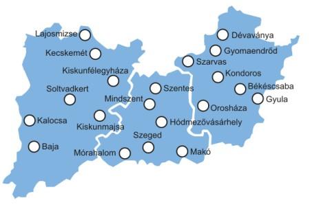 Dél-Alföld régió - településhálózat - Uniós pályázatok